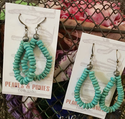 Pearls and Ponies Turquoise Hoop Earrings