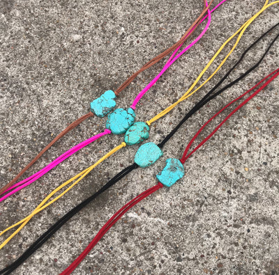 Pearls and Ponies Turquoise Slab Choker/Bracelets