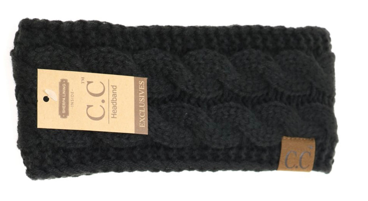 C. C. Beanie Solid Cable Knit Head Wrap