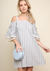 Striped Off Shoulder Pocket Dress with Crochet Trim Pleated Sleeves