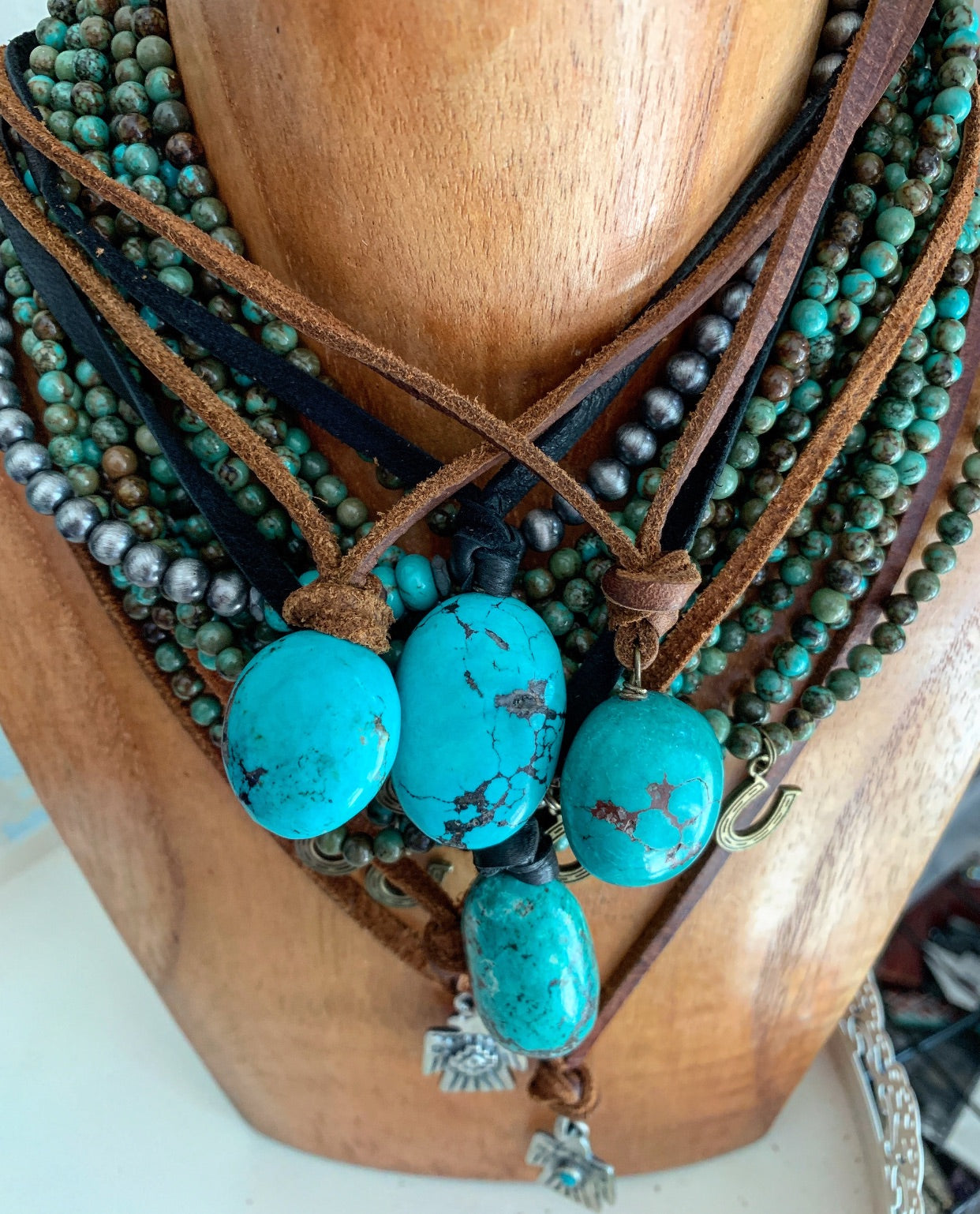 Pearls and Ponies Leather Turquoise Chunk Necklace