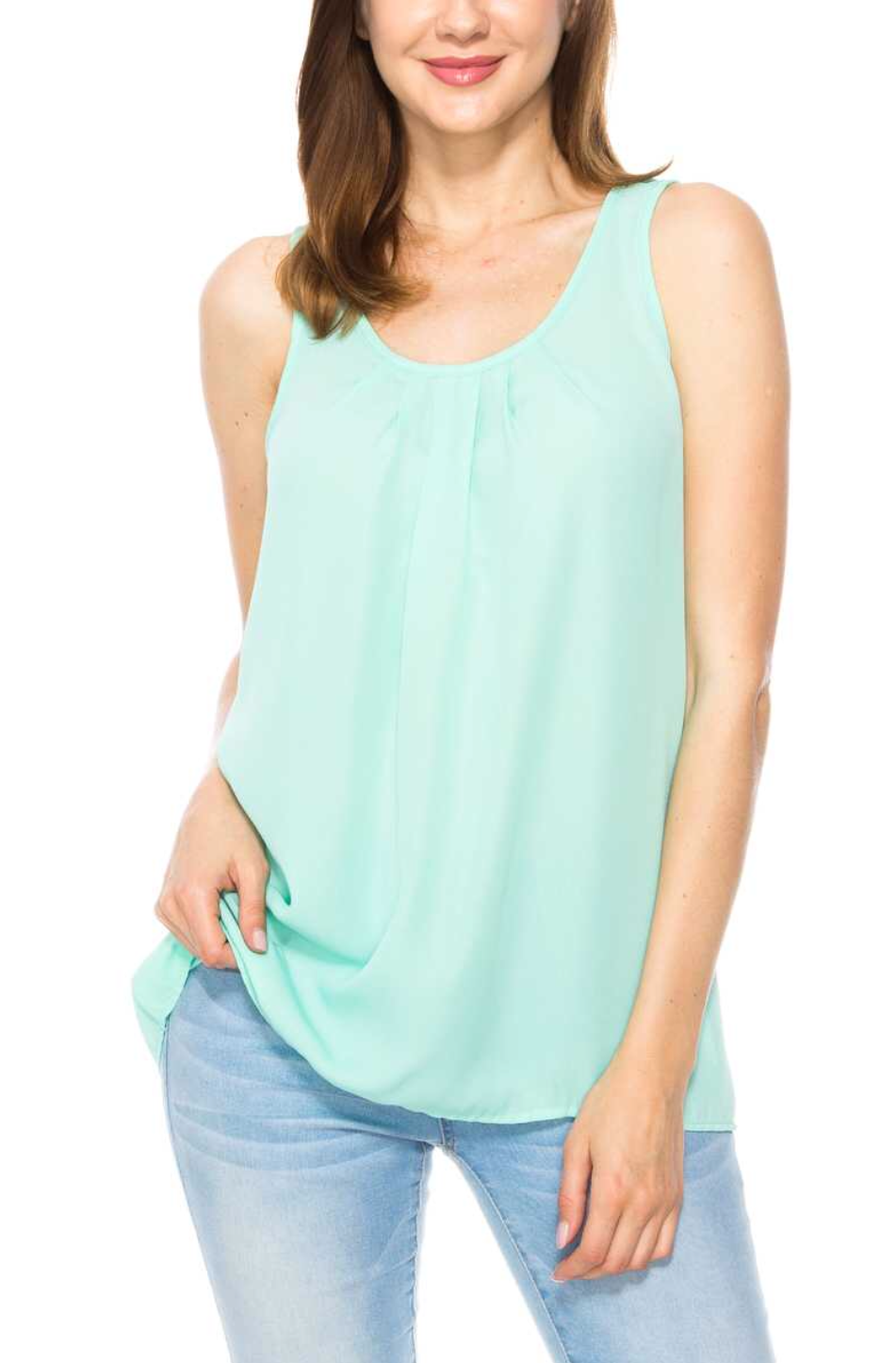 Solid Sleeveless Pleats Detail Top