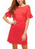 Striped Ruffled Sleeves Detail Dress in Red