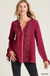 Collarless Top with Embroidered Neckline