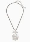 Kaia Long Pendant Necklace in Silver