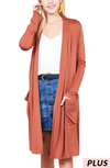 Long Sleeve Open Front Plus Size Cardigan With Pockets