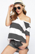 Wide Stripe Terry V-Neck Short Sleeve Top