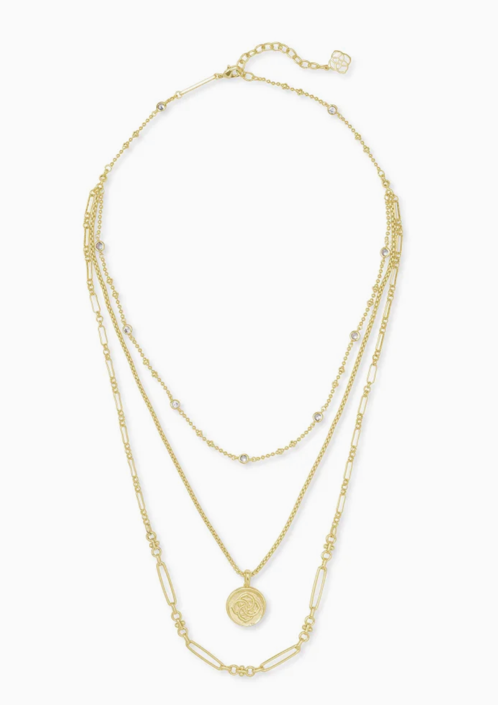 Medallion Coin Multi Strand Necklace In Gold