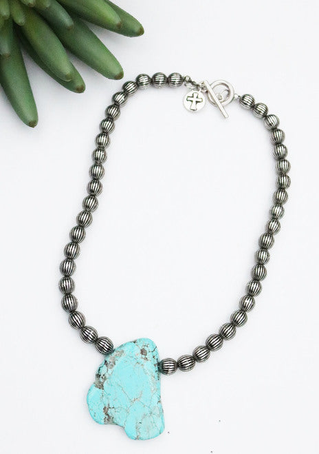 Silver Beaded Necklace with Turquoise Stone