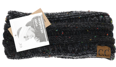 C. C. Beanie Ribbed Flecked Ponytail Head Band