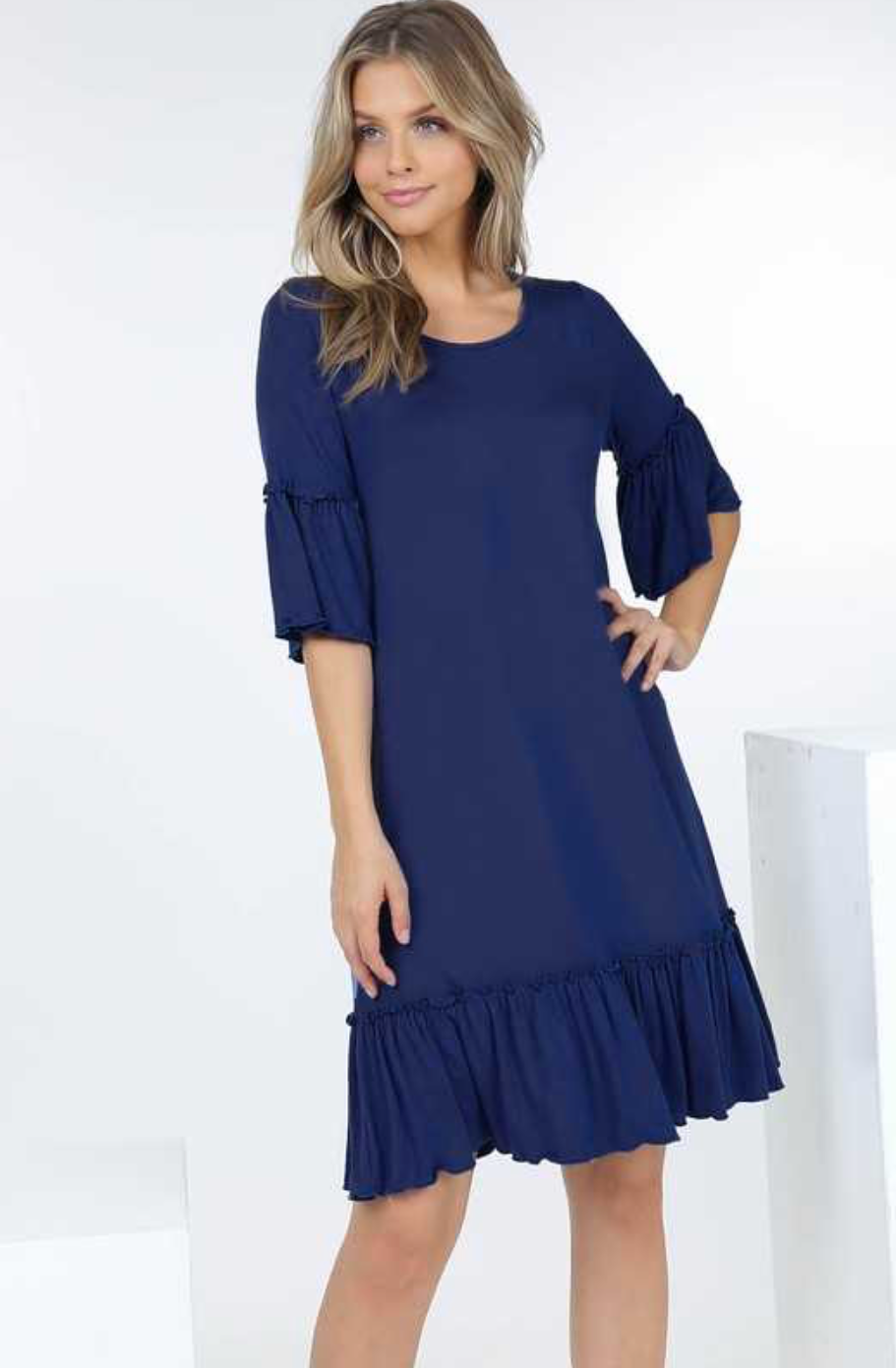 Ruffle Short Sleeve Dress With Pleated Hem
