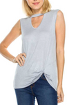 Solid Cutout Front Top With Side Twist