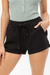 Solid Elastic Waist Pocket Detail Shorts