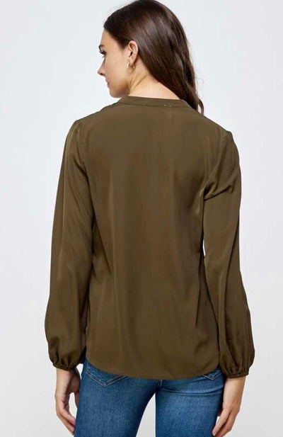 Olive Embroidered Top