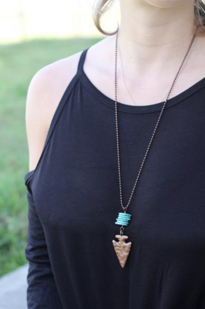 Turquoise Cylinder with Copper Arrowhead Necklace