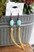 Turquoise Nugget & Mustard Leather Earring