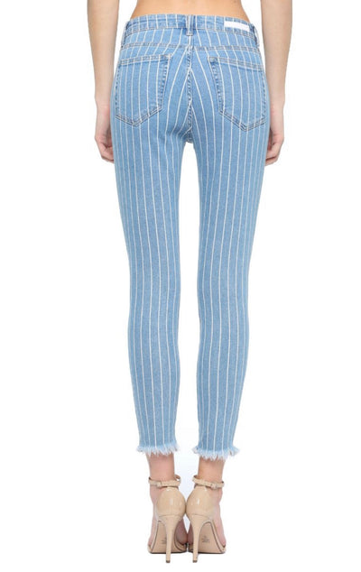 High Rise Mom Skinny Striped Ankle Jean