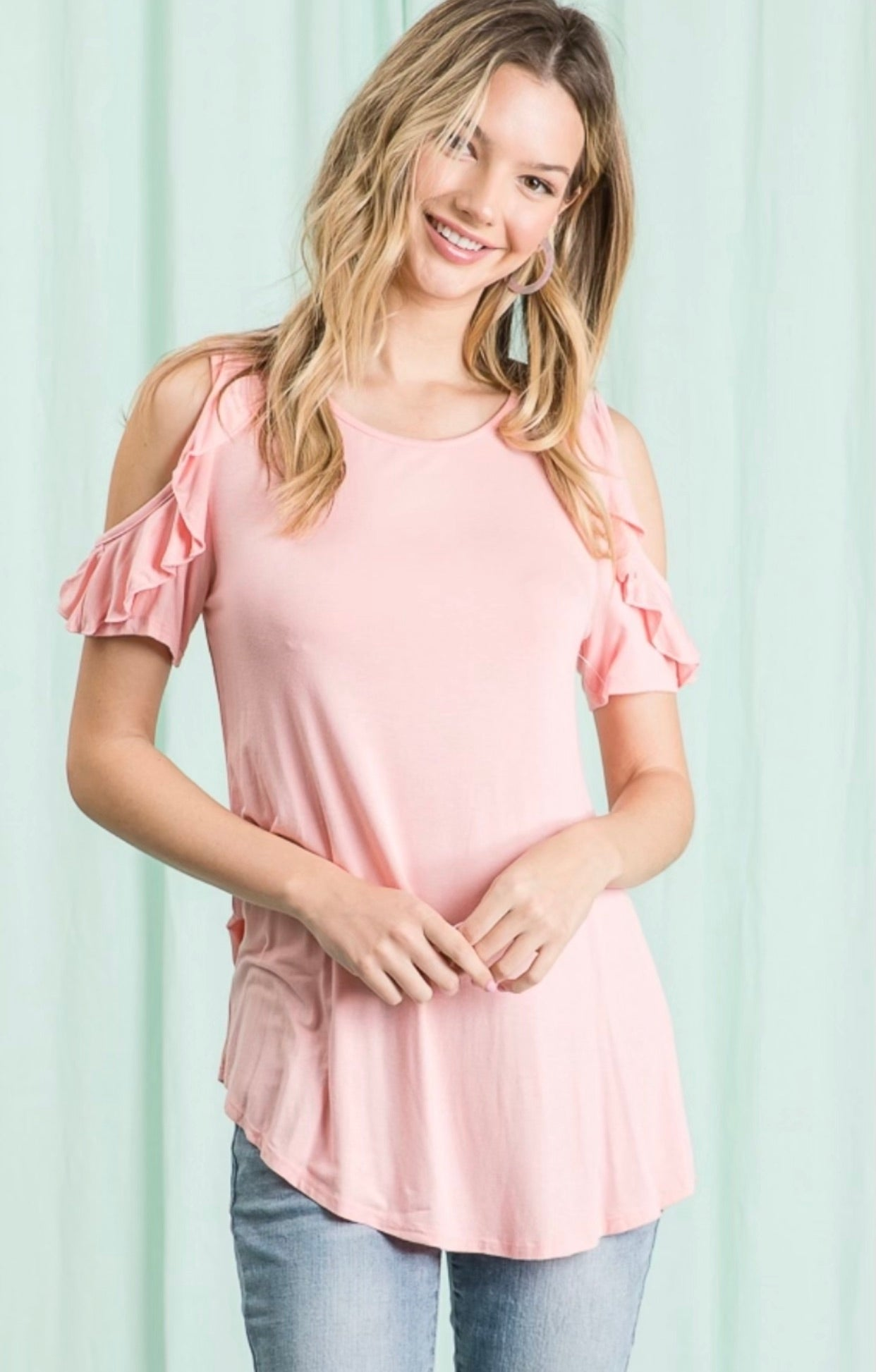 Baby Pink Cold Shoulder Ruffle Sleeve Top