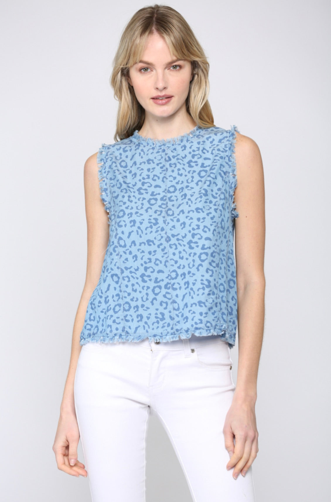 Frayed Detail Leopard Tencel Top