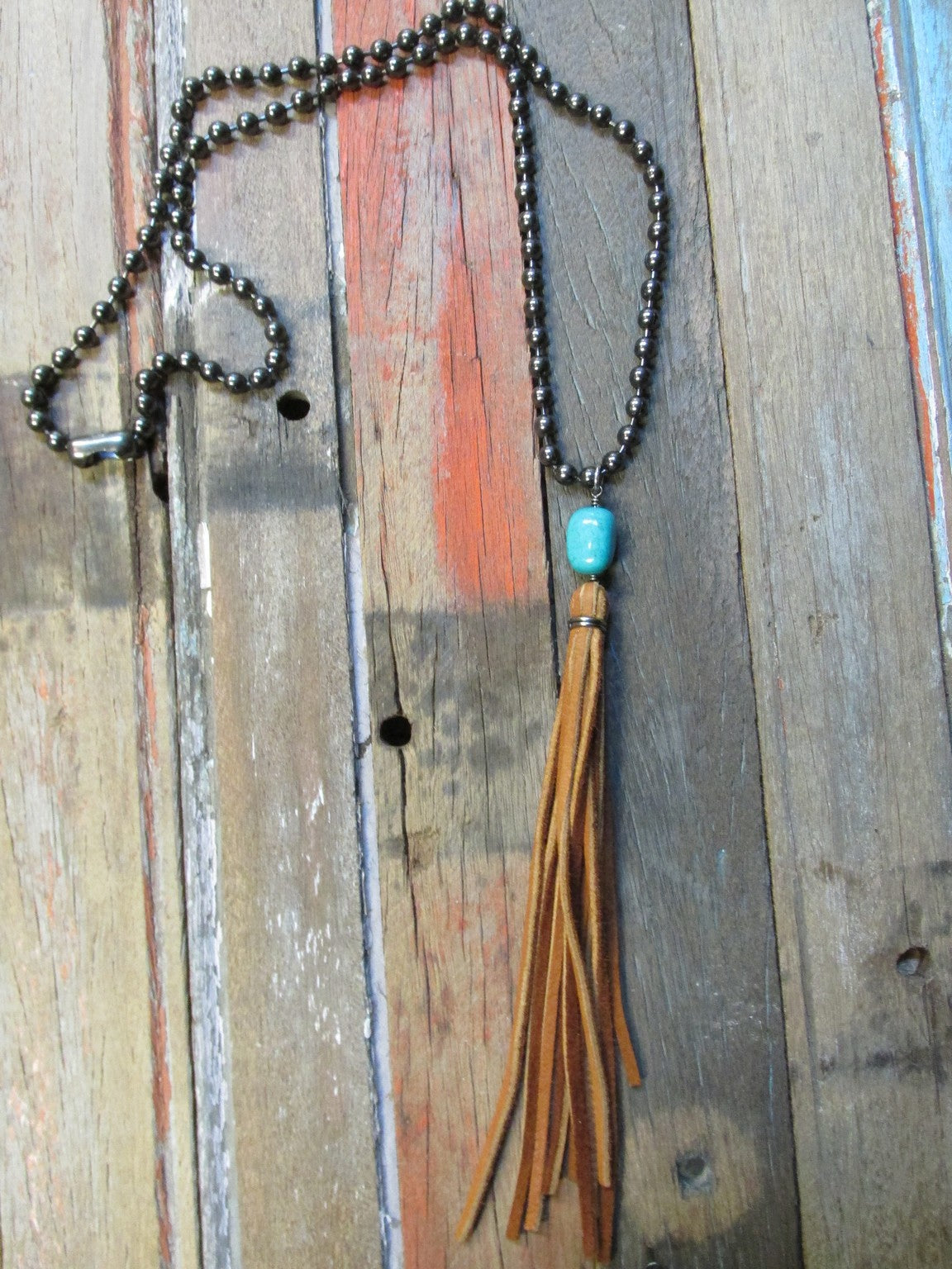 Stone Tassel Ball Chain Necklace