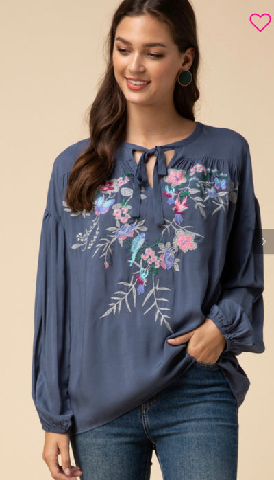 Embroidered Bubble Sleeve Peasant Blouse