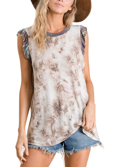 Tie Printed Knit Tank Top With Ruffled Sleeves