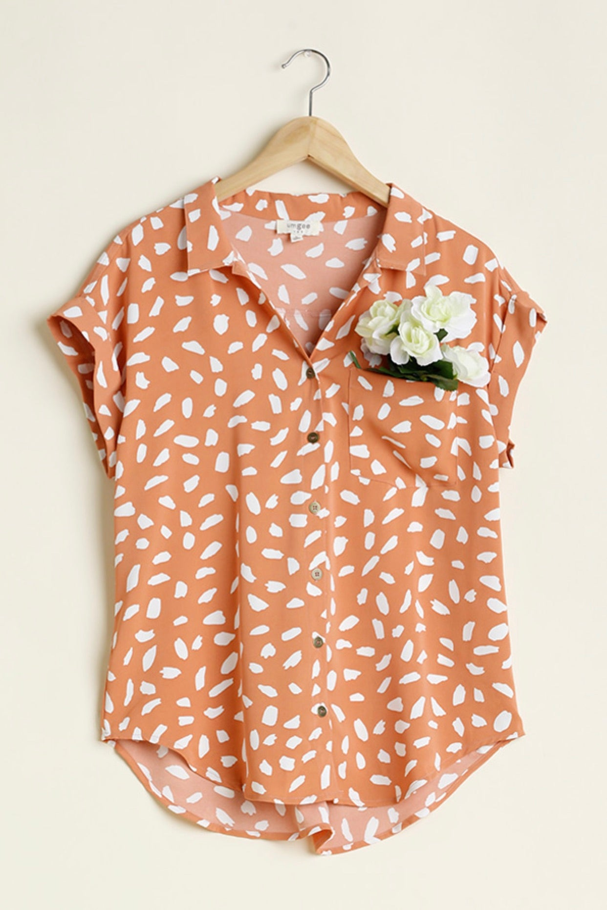V-Neck Dalmatian Print Button Front Top
