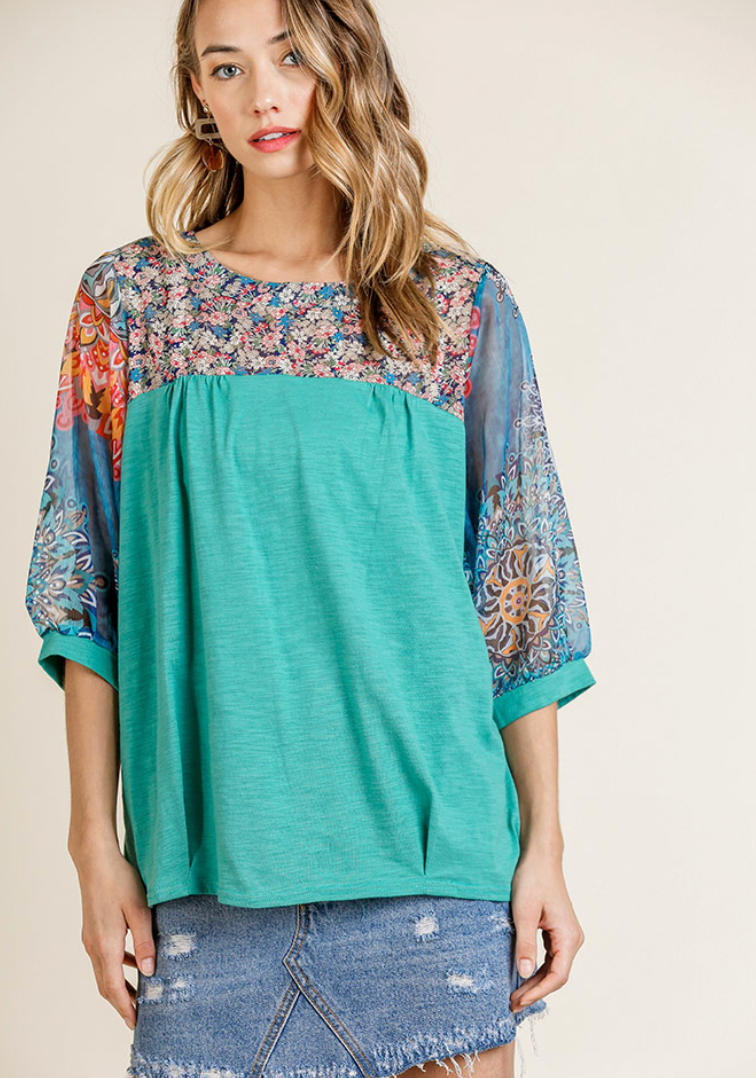 3/4 Sleeve and Yoke Top with Front Pintuck Details