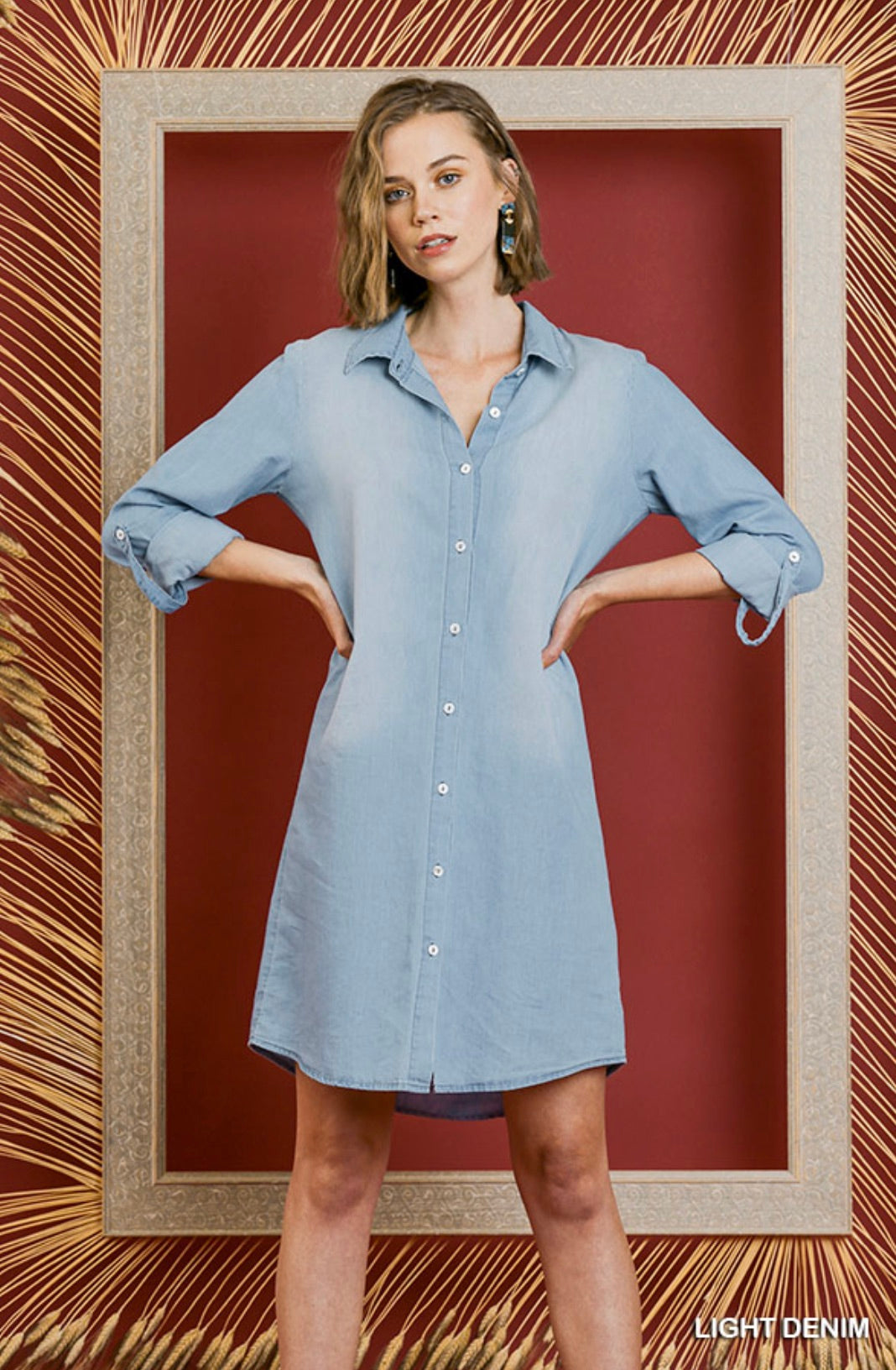Long Roll Up Sleeve Button Front Collared Dress with Scoop Hem