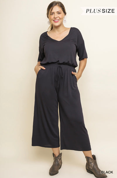 Short Sleeve V-Neck Wide Leg Pant Jumpsuit with Pockets and Adjustable Waistband with Drawstring