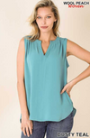 Woven Split Neck Sleeveless Blouse