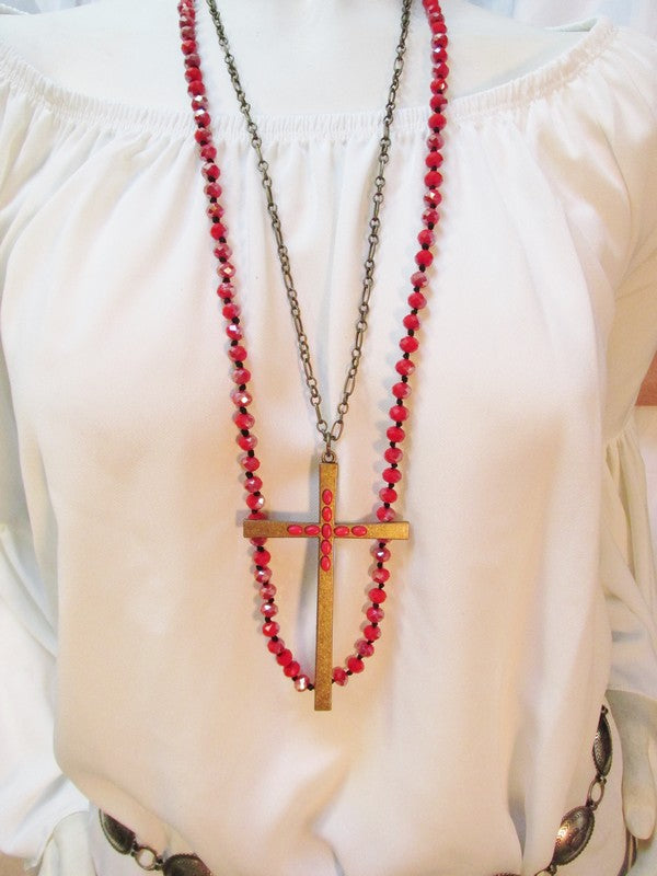 Long Bronze Cross Necklace with Red Stones