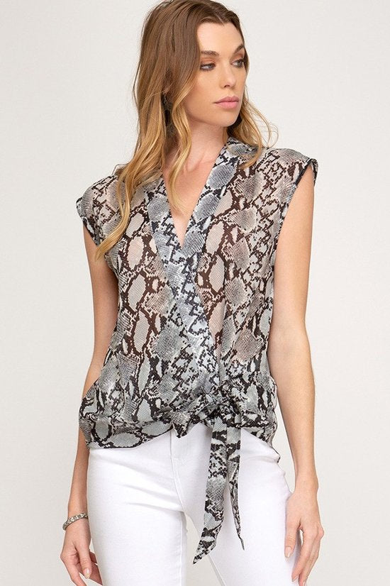 Snake Skin Printed Top with Side Tie