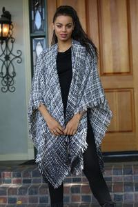 Ombre Tweed Look Sweater Wrap