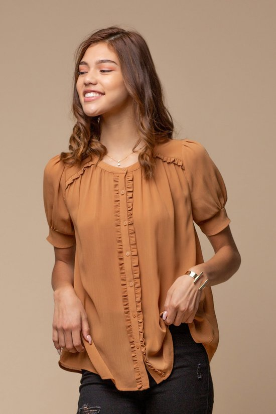 Ruffle Detail Puff Sleeve Blouse