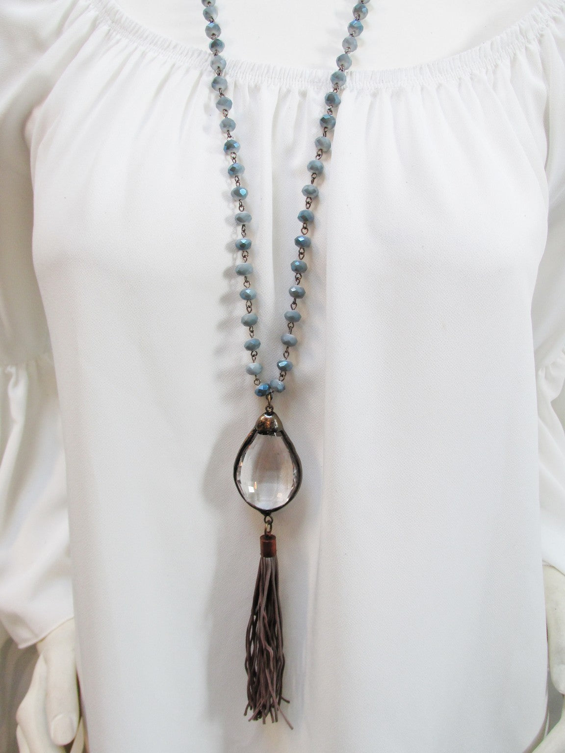 Crystal Drop Necklace with Tassel