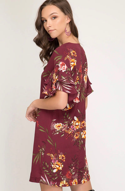 Double Ruffle Sleeve V-Neck Floral Print Shift Dress