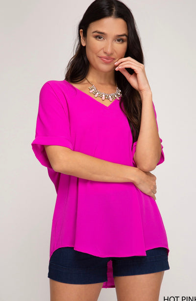 DROP SHOULDER V-NECK WOVEN TOP