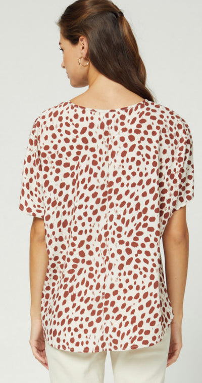 Spotted V-Neck Top