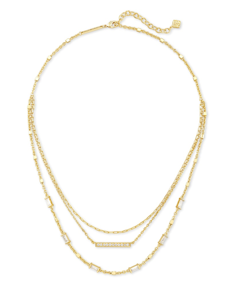 Addison Multi Strand Pendant Necklace in Gold
