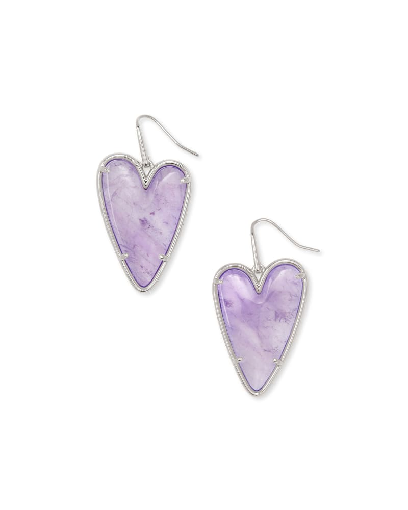 Ansley Heart Silver Drop Earrings