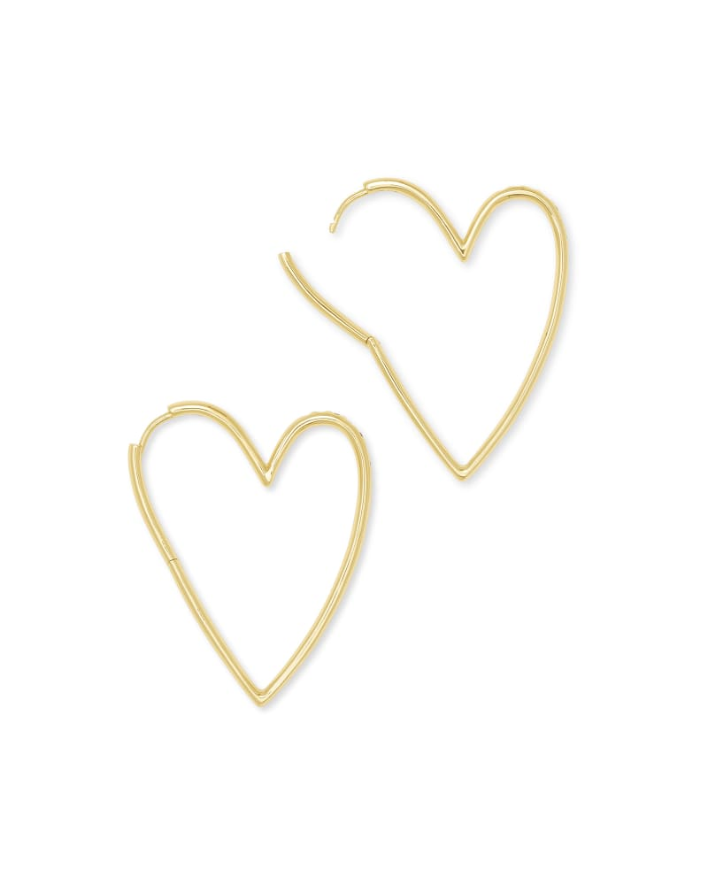 Ansley Heart Hoop Earring in Gold Metal