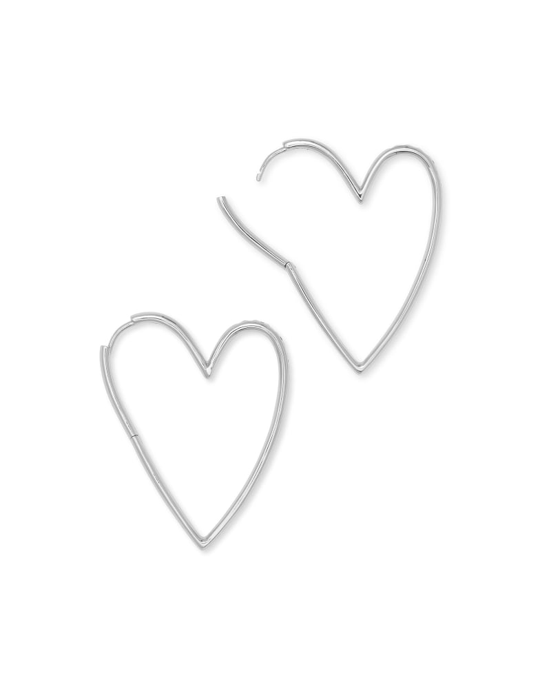 Ansley Heart Hoop Earring in Silver Metal