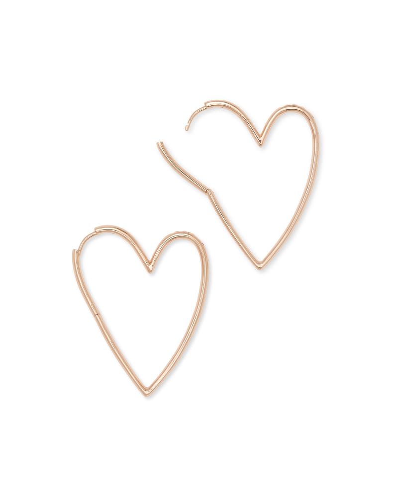 Ansley Heart Hoop Earring in Rose Gold