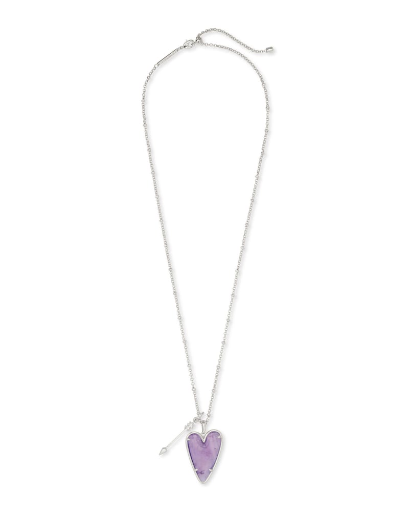 Ansley Heart Silver Long Pendant Necklace