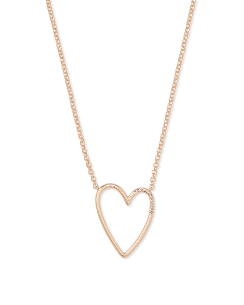 Ansley Heart Necklace in Rose Gold