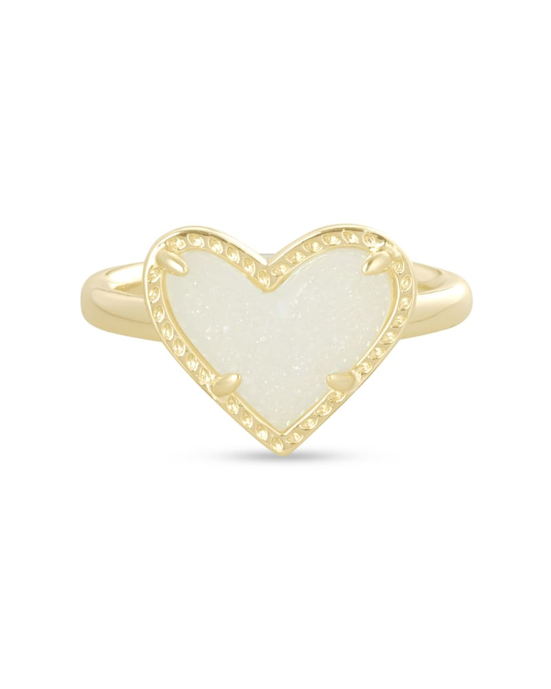 Ari Heart Ring in Gold Iridescent Drusy