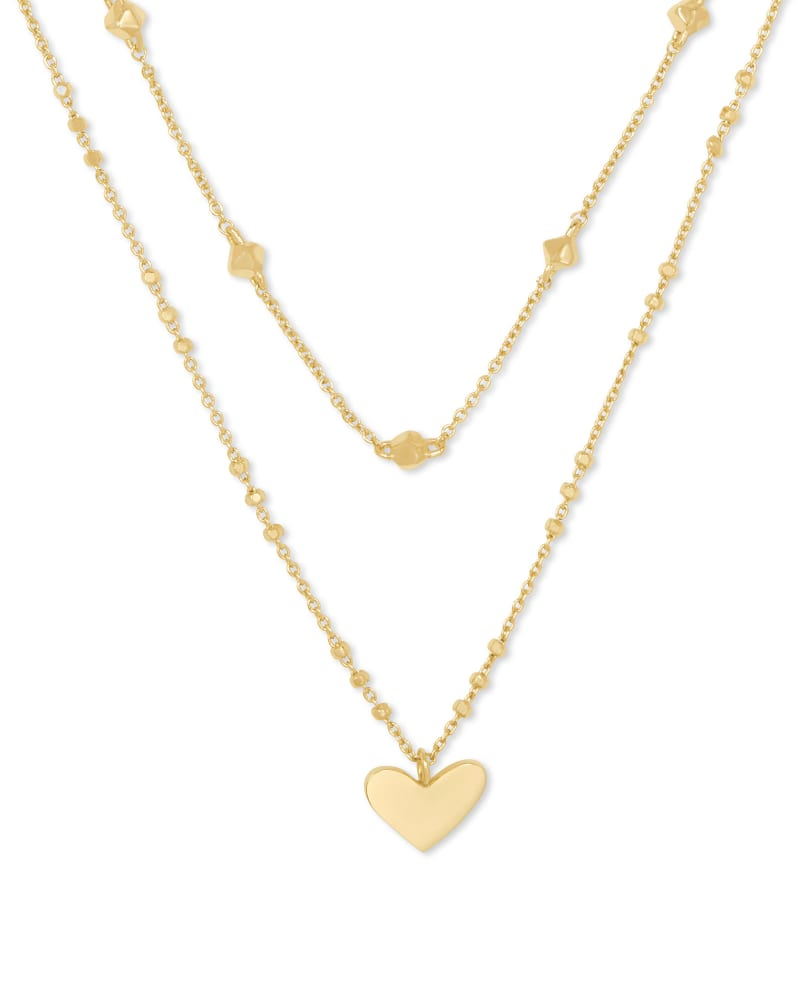 Ari Heart Multi Strand Necklace In Gold