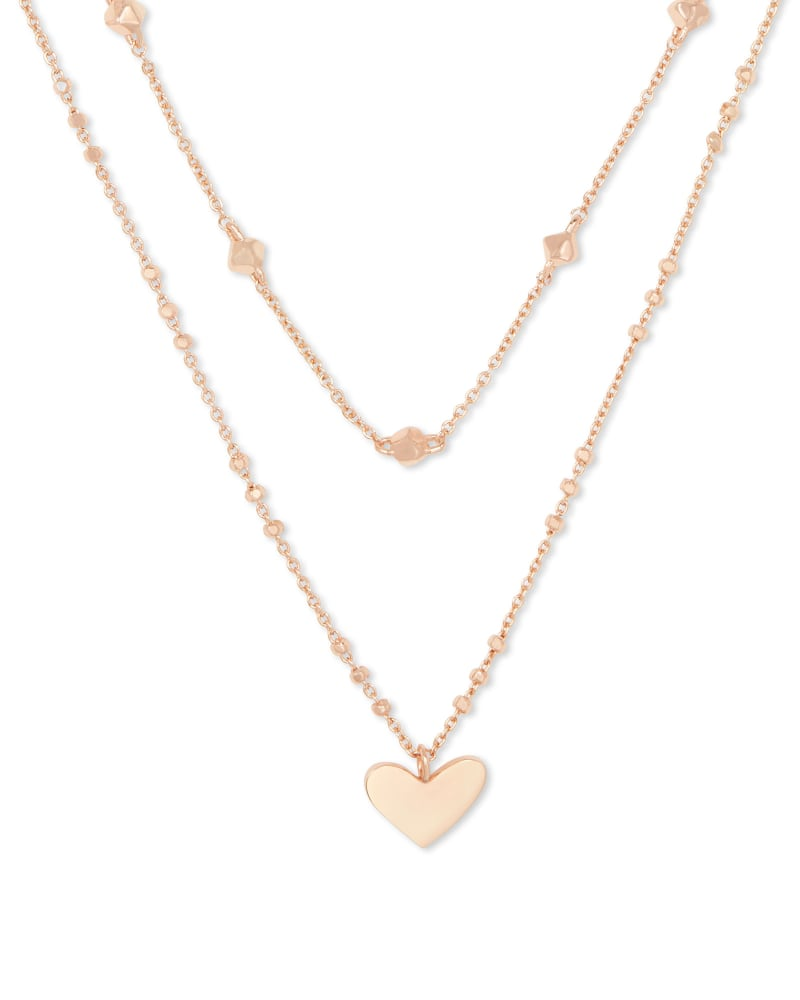 Ari Heart Multi Strand Necklace In Rose Gold