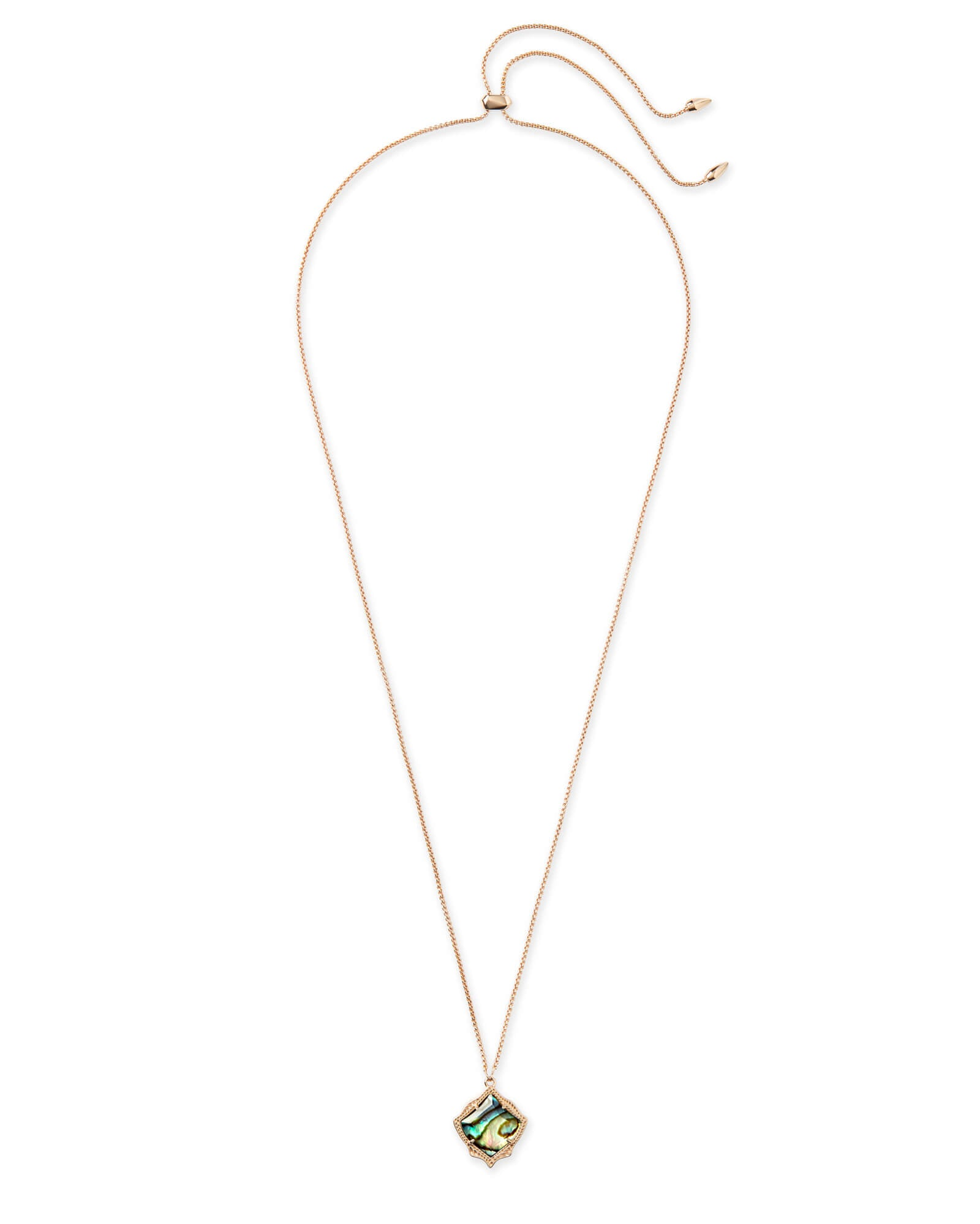 Kacey Long Pendant Necklace in Rose Gold
